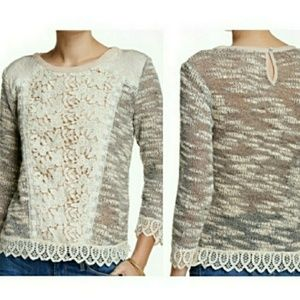 Anthropologie Champagne & Strawberry Sweater!